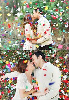 Amazing confetti photoshoot. Photo by Priscilla Valentina.   http://mysweetengagement.com/galleries