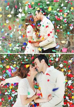 Amazing confetti photoshoot. Photo by Priscilla Valentina. | http://mysweetengagement.com/galleries