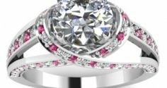 pink accented engagement ring