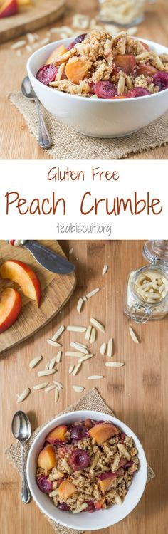 Gluten Free Peach Crumble, no refined sugar, with the addition of cherries and a beautifully crunchy oat and almond topping. Perfect for breakfast or dessert!