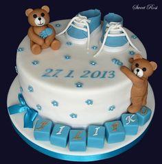 Torta na krst s medvedíkom, Autor: Sweet Rosi Baby Boy Birthday Cake, Baby Cakes, Fondant, Baby Shower, Children, Sweet, Etsy, Christening Cakes, Foodies