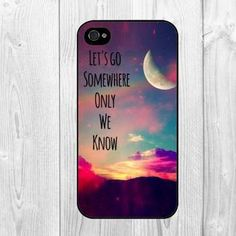 Trendy Hipster Funny Life Quote Let's Go Somewhere Only we Know Pattern Hard Snap on Case Protective Skin Cover For Apple iphone 4 4s, iphone 5 5S, iphone 5C