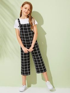 Girls Pocket Front Grid Culottes Jumpsuit With Strap – Kidenhouse Teenage Girl Outfits, Girls Fashion Clothes, Dresses Kids Girl, Cute Girl Outfits, Kids Outfits Girls, Tween Fashion, Teen Fashion Outfits, Cute Outfits For Kids, Cute Casual Outfits