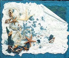 Art with handmade paper and shells. Gotta try this!