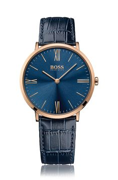 '1513371' | Navy Croc-Embossed Leather Watch  Assorted-Pre-Pack from BOSS for Men for $235.00 in the official HUGO BOSS Online Store free shipping