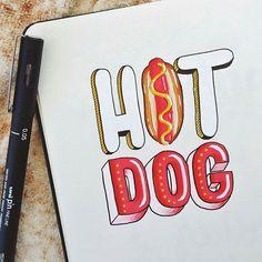"""Today is National Hotdog Day! Artist:@joannabehar _________ Featured | @ArtofType #ArtofType _________"" Photo taken by @artoftype on Instagram, pinned via the InstaPin iOS App! http://www.instapinapp.com (07/23/2015)"