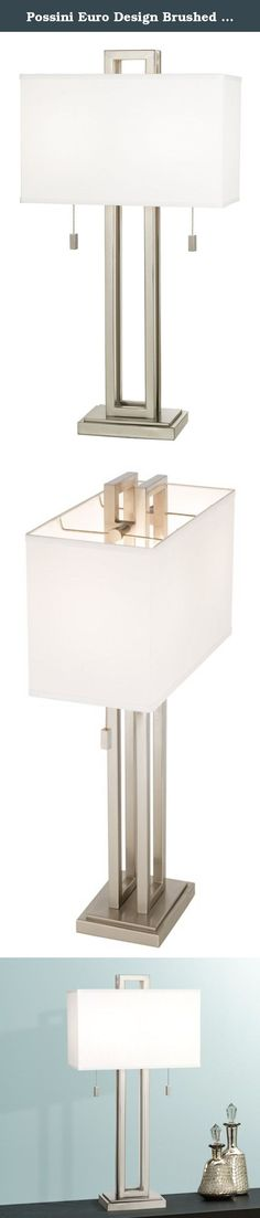 """Possini Euro Design Brushed Nickel Rectangle Table Lamp. This sleek table lamp has a contemporary look and feel. Features a nickel finish open metal body and a rectangular box shade. Also has two on/off pull chains. From the Possini Euro Design lighting collection. - Contemporary rectangle table lamp. - Brushed nickel finish metal base. - Takes two 60 watt bulbs (not included). - Off-white box shade. - From the Possini Euro Design® lighting collection. - 30"""" high. - Rectangular shade is 16"""".... Nickel Finish, Brushed Nickel, Rectangle Table, White Box, Pull Chain, Ceiling Fans, Table Lamps, Bulbs, Chains"""