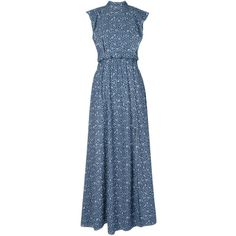 Lilly Sarti denim maxi dress (420 AUD) ❤ liked on Polyvore featuring dresses, vestidos, blue, flutter-sleeve dress, maxi dresses, sleeveless maxi dress, denim dresses and blue ruffle dress