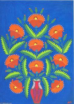 红色罂粟花, 水粉画 通过 Maria Primachenko (1908-1997, Ukraine)
