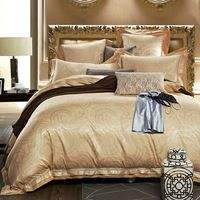 elegant peacock tail print golden linens silk cotton jacquard duvet cover sets Queen/Full/Double/King Size bedding sets