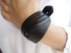 Cuff Leather Bracelet Adjustable bracelet by leatheristanbul