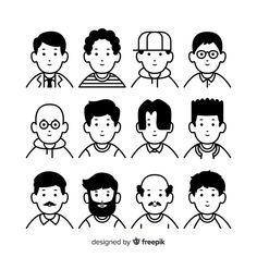 Hand drawn colorless people avatar collection Free Vector Outline Illustration, Flat Design Illustration, People Illustration, Portrait Illustration, Character Illustration, Cartoon People, Cartoon Faces, Cartoon Art Styles, Doodle People