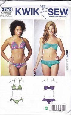 b2a6091bc5 Womens Bikini Optional Skirt Swimsuit Sewing Pattern Kwik Sew 3875 Sizes  XXS - L Plus Size or any size Swimwear Pattern UNCUT