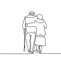 Illustration of Continuous line drawing. Happy elderly couple hugging and walking. Vector illustration vector art, clipart and stock vectors. Elderly Couples, Old Couples, Outline Drawings, Art Drawings, Drawing Faces, Stages Of Dementia, Continuous Line Drawing, Couple Illustration, Couple Drawings