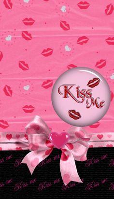 Classy Wallpaper, Pink Wallpaper, Wallpaper Backgrounds, Wallpaper Ideas, Makeup Wallpapers, Iphone Wallpapers, Kisses, Kiss Art, Holiday Wallpaper