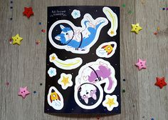 Space Dog Sticker Sheet Space Cute Illustration