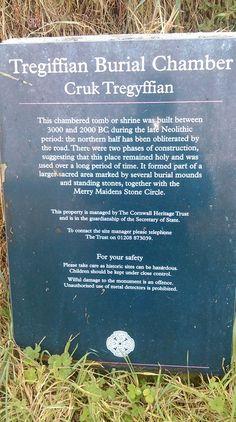 TREGIFFIAN BURIAL CHAMBER: plaque, near Merry Maidens stone circle, west Cornwall. ✫ღ⊰n