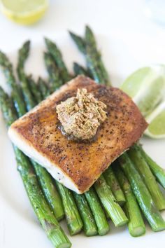 Pan seared mahi mahi topped with a chili lime butter compound (gluten free, low carb, low calorie, paleo, Whole30)