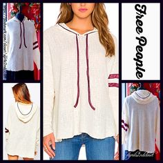 """FREE PEOPLE Tunic Hoodie Loose Knit NEW WITH TAGS $128 ***Model photos from WWW.Lyst.com Free People Tunic Sweater Hoodie Pullover  * Relaxed fit; Lightweight yet cozy, stretch-to-fit knit.  * V-neck, long sleeves, attached drawstring hoodie, & a pullover style.  * Lightly textured knit fabric w/contrasting details.  * About 28"""" long;  * Raw edge hem.   Fabric: Cotton-Linen-Polyester blend. Color: Ivory Item:  No Trades ✅ Offers Considered*✅ *Please use the blue 'offer' button to submit an…"""