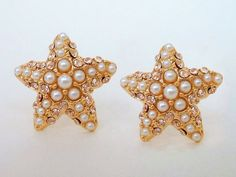 Starfish Earring Studs -- Gold Filled Encrusted with Tiny Pearls and Crystals - LoveItSoMuch.com