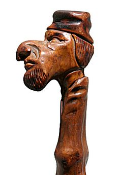 Walking Stick Handle, hand carved from one branch of a dense wood, late - early century, American Wooden Walking Sticks, Walking Sticks And Canes, Walking Canes, Cannes, Wooden Canes, Cane Handles, Art Carved, Nautical Art, Wood Carving