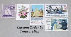 Reserved Custom Order for Alexa .. Unused Vintage US Postage Stamps by TreasureFox on Etsy