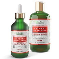 Anti Hair Loss Shampoo and Pre-Shampoo Scalp Treatment Value Set Cayenne - Saw Palmetto Hair Growth Botanical For Hair Thinning Prevention Alopecia DHT Blocking Anti Hair Loss Shampoo, Thickening Shampoo, Hair Growth, Beauty, Cosmetology, Grow Hair