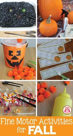 Seven fun and exciting ways to work on fine motor skills this fall...great Halloween activities for preschool, pre-k and kindergarten...perfect for a pumpkin thematic unit.