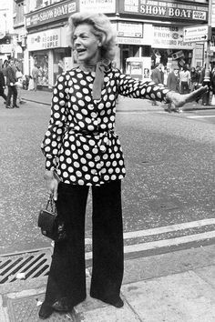 Lauren Bacall, ready in a polka dot tunic to stop the Leicester Square traffic in London Oct. 2, 1972
