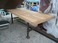 Outdoor Table idea using Pipe fittings for legs