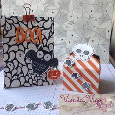 Geschenktüte und -schachtel im Halloweendesign