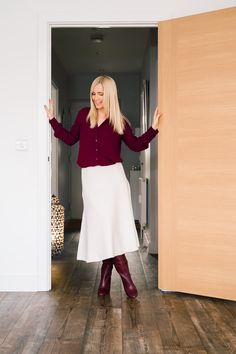How to wear a white skirt in winter. Faux Fur Cropped Jacket, Weekend In London, Spaghetti Strap Top, Winter Skirt, Polo Neck, Wool Skirts, Elegant Outfit, Ankle Strap Heels, White Shirts