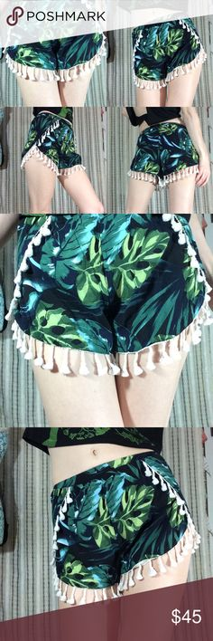 PAPER HEART Tassel Fringe Tropical Fern Shorts Excellent condition. Smoke-free home. No missing strings. Leaf print. Ready for the jungle or the beach or Hawaii. 100% viscose. Elastic stretchy band can fit extra small or small small. Sexy overlapping sides. We're over your swimsuit. LF Shorts