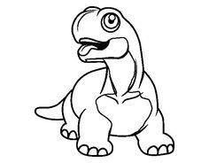 Dibujo de Diplodocus con la lengua fuera para Colorear