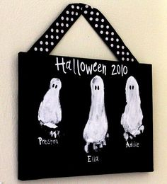 "Took me forever, but I think this is the original post - I've seen this re-pinned everywhere.  Make a cute Halloween sign - kid craft - with foot prints designed by ""Miner Moments"""