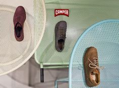 Retail design for Camper shoe store in Malmö by Note Design Studio featuring metal trolleys for easy to reconfigure display units. Note Design Studio, Notes Design, Cool Retail, Camper Store, Malm, Dezeen, Colorful Furniture, Miller Sandal, Retail Design