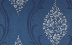 Floral Ogee Wallpaper in Blues and Metallic by Antonina Vella for Seabrook Wallcoverings