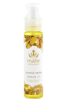 Free shipping and returns on Malie Organics 'Coconut Vanilla' Beauty Oil at Nordstrom.com. Coconut Vanilla Beauty Oil by Malie Organics is a fast-absorbing formula full of antioxidants that's ideal for moisturizing your skin, wet or dry, and can even be poured into a bath. The oil won't clog pores and will leave you positively radiant.How to use: Pump directly onto skin and rub in.Notes: coconut, vanilla.