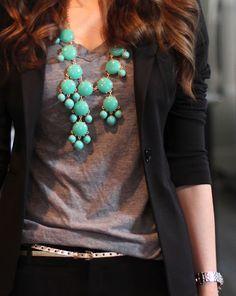 Black blazer, gray tee, statement necklace