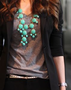 gray tee and blazer and statement turquoise necklace