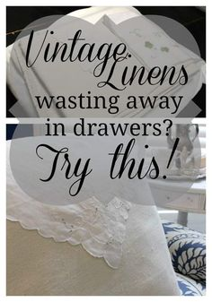 Drop Cloth and Vintage Linen DIY Pillow Designing Wilder is part of Diy pillow designs - The refinement of vintage linens combined with the sturdy texture of a drop cloth provide an irresistible combination in this DIY pillow project! Sewing Crafts, Sewing Projects, Diy Projects, Sewing Tips, Diy Crafts, Drop Cloth Projects, Handkerchief Crafts, Vintage Table Linens, Vintage Tablecloths