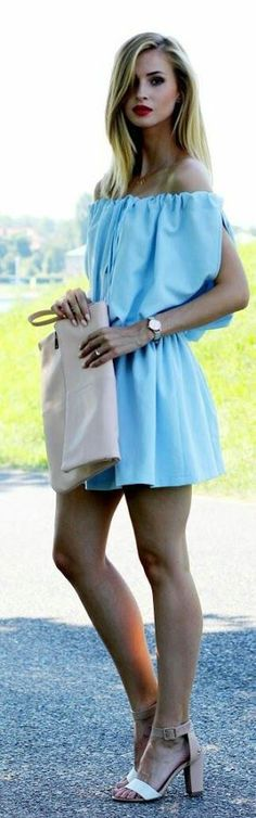 Light Blue Off Shoulder Dress by Beauty - Fashion - Summer Summer Dresses For Women, Trendy Dresses, Casual Dresses, Blue Fashion, African Fashion, Fashion Beauty, Women's Fashion, Fashion Outfits, Casual Chic Style