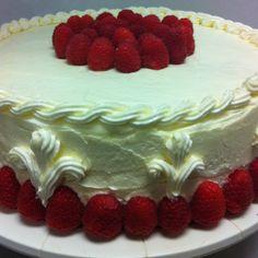 White cake with lemon buttercream and raspberry jam