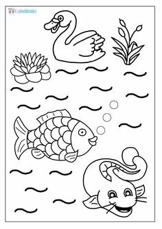 Coloring Sheets, Coloring Pages, Pond Life, Water Cycle, Toddler Art, Lesson Plans, Preschool, River, Animals