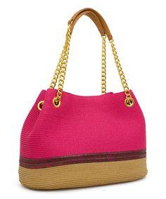 Magid Fuchsia & Toast Stripe Straw Tote Handbag