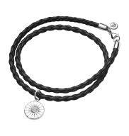 DAISY bracelet - rhodium plated sterling silver with white enamel
