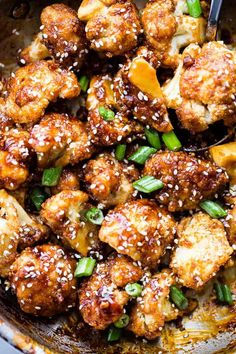 Sticky Sesame Cauliflower Bites – Sweet, spicy, baked cauliflower bites topped with an amazing Asian-inspired sticky sauce!