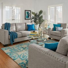 Get inspired by Modern Living Room Design photo by Wayfair. Wayfair lets you find the designer products in the photo and get ideas from thousands of other Modern Living Room Design photos. Living Room Turquoise, Teal Living Rooms, Living Room Color Schemes, Living Room Colors, New Living Room, Living Room Ideas With Grey Walls, Living Room Sets, Interior Design Living Room, Living Room Designs