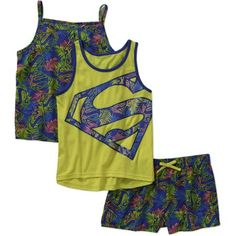 Supergirl Girls' Tank, Cami, and Shorts 3 Piece Set