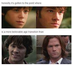 Sam's Age Transitions [HA, it's true. Colin looks more like Jared than Jared looks like Jared...] #Supernatural Sam evolution